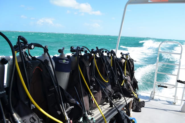 Castaway Mark B. of island-breeze-travel.com diving in the Turks & Caicos. See the visor?