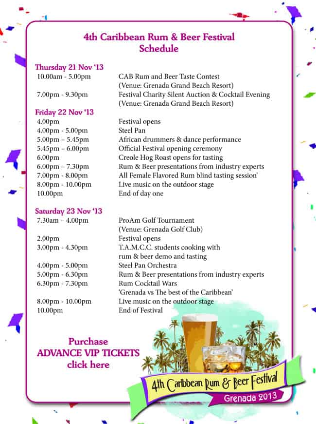 Caribbean Rum and Beer festival Schedule