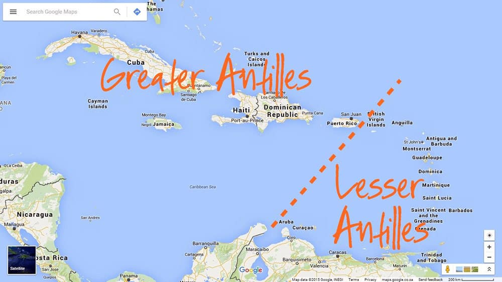 Greater Antilles and Lesser Antilles
