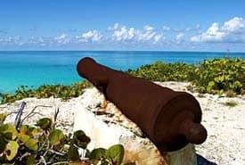 Cannon on the Beach in the Exumas