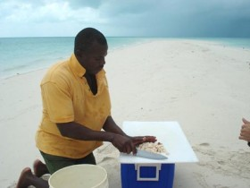 Eating Conch in the Bahamas