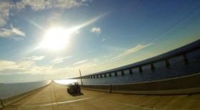 Driving over Seven Mile Bridge
