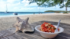 Conch Salad, Chat N' Chill, Exumas, Stocking Island, Beach Bar