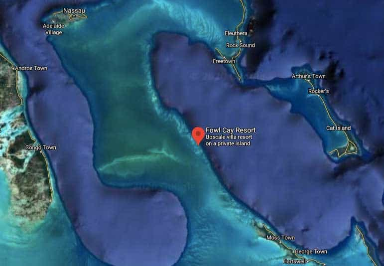 Fowl Cay Resort location